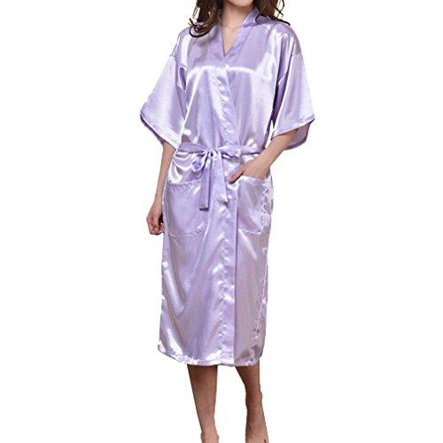 Kimono Viola Lingerie Seta Vestaglia Bagno Mxssi da Kimono Babydoll Camicia notte Light Sexy Donna Lungo Robe di da UwUT7tq