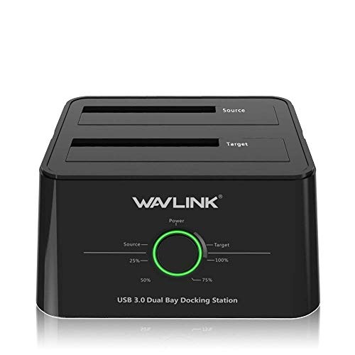WAVLINK USB 3.0 to SATA (5Gbps) Dual-Bay Hard Drive Docking Station For 2.5 inch/3.5 Inch HDD,SSD Support Offline Clone/Backup/UASP Functions [8TB×2 ]-Black by WAVLINK (Image #7)