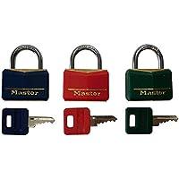 Kit com 3 Cadeados Master Lock de Latão 35mm com Haste de Aço Coloridos