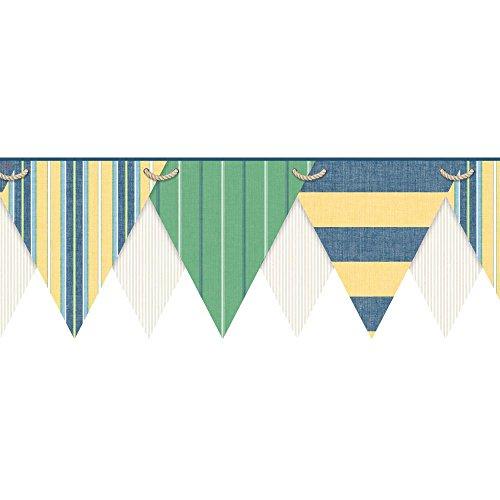 York Wallcoverings NY4903BDSMP Nautical Living Striped Pennant Border Memo Sample, 8-Inch x 10-Inch, White, Beige, Yellow, Grass Green, Marine Blue, Light Blue, Navy Blue ()