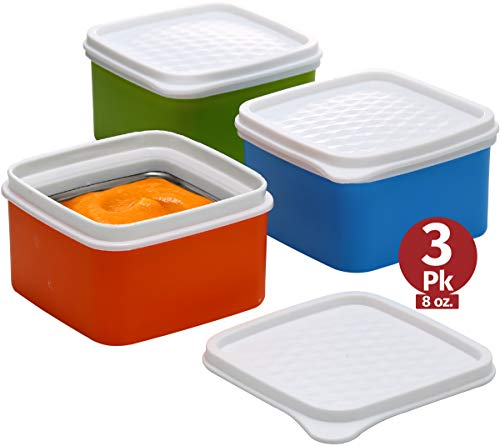 Baby insulated food storage container- toddler small leakproof thermal lunch containers -kids snack containers- square food container with airtight lid travel, on the go, daycare 3 pk. 8 oz bpa free ()