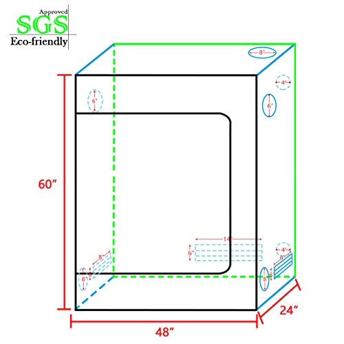 """41oU%2BXg1hhL - Quictent SGS Approved Eco-friendly 48""""x24""""x60"""" Reflective Mylar Hydroponic Grow Tent with Heavy Duty Anti-burst Zipper and waterproof Floor Tray for Indoor Plant Growing 4'x2'"""