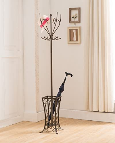 Kings Brand Pewter Finish Metal Coat Hat Rack Stand With Umbrella Holder