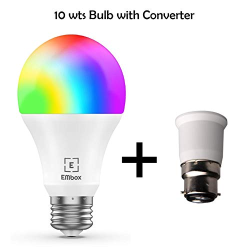 EMBox WiFi Smart LED Bulb, Voice Control with Amazon Alexa & Google Home Assistant, 7W, White Base...