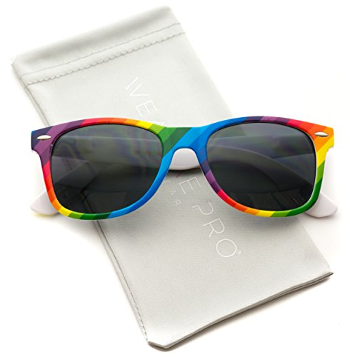 New Horn Rimmed Style Pride Rainbow Mirrored Lens - Sunglasses Rainbow