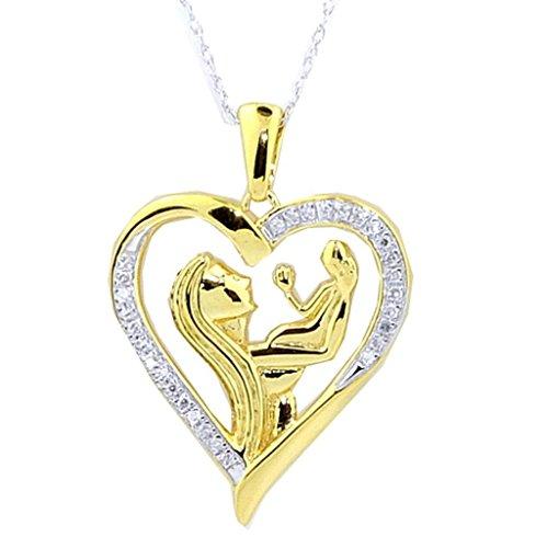 pendants-midwestjewellery femmes Coeur de diamant de la mère et enfant Ensemble Pendentif et collier 45,7cm 1/10ctw or jaune ton argenté (I2/i3, I/J)
