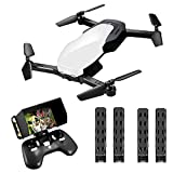 FPV RC Drone for Kids with Camera Rechargeable Folding Drone Quadcopter for Beginners Adults WiFi Live Video Feed 720P HD Square or Indoors (Battery Delivery) For Sale