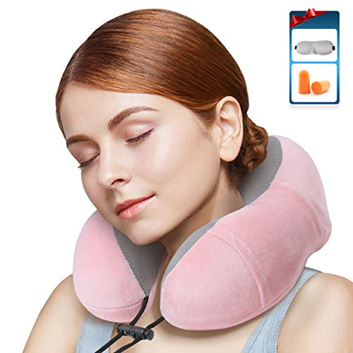 - HOME&STYLE Travel Pillow 100% Pure Memory Foam Neck Pillow for Airplane--Super Soft Pillow with Machine Washable Cover--Airplane Travel Kit with 3D Contoured Eye Masks,Earplugs and Reusable Bag