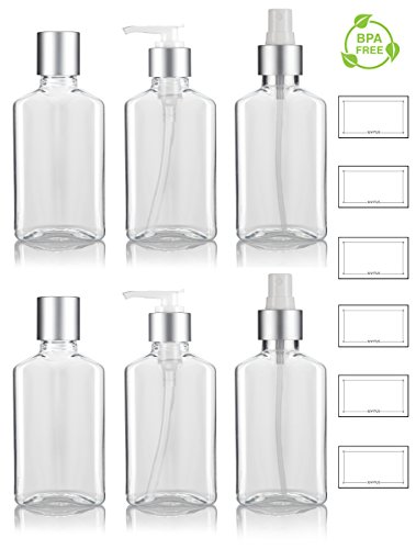 Oblong Bottle - 3.4 oz / 100 ml Clear PET (BPA Free) Plastic Oblong Flask Style Refillable Bottle Set with Silver Tops ; Includes 2 of each Fine Mist Sprayers, Disc Caps, and Lotion Pumps