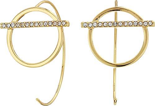 Rebecca Minkoff Women's Bar and Line Threader Hoop Earrings Gold One Size