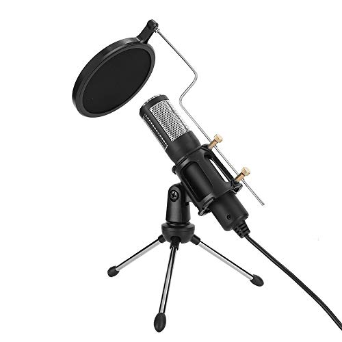 USB Capacitive Microphone, PC Condenser Recording Microphone Kit with Professional Tripod Stand and Pop Filter for Computer, Laptop, ASMR Streaming Video Studio Voice Overs Broadcast