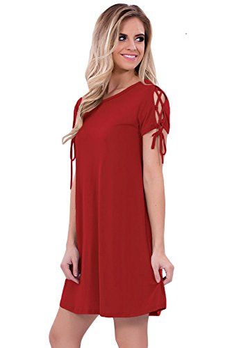 Damen Rot Lace Up Sleeves Kleid Club Wear Party Casual Größe S UK 8 ...
