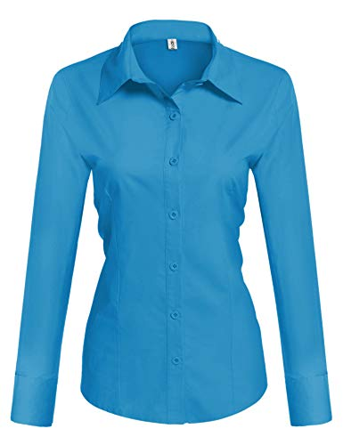 (HOTOUCH Womens Basic Button Down Shirt Slim Fit Dress Shirts Deep Sky Blue Small)