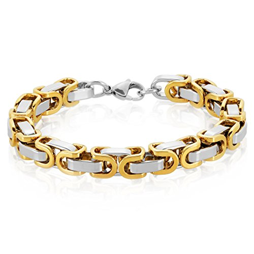 Crucible Gold Plated Two Tone Polished Stainless Steel Byzantine Chain Bracelet (8.5mm) - 8.5