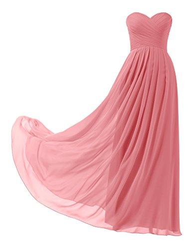 Remedios A-Linie Chiffon Brautjungfernkleider ballkleid Abendkleider Lang, #26 korallenrosa, 36