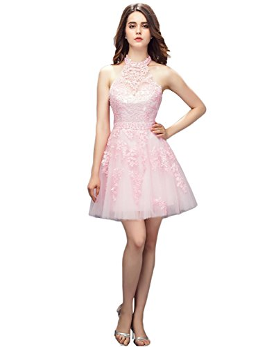 YIRENWANSHA Manual Beaded Homecoming Dress Plus Size Rhinestones Empire Waist Halter Prom Dress for Girls Knee Length Short Cocktail Gown Layers of Noble Satin Skirts YL113 Pink Size 26W