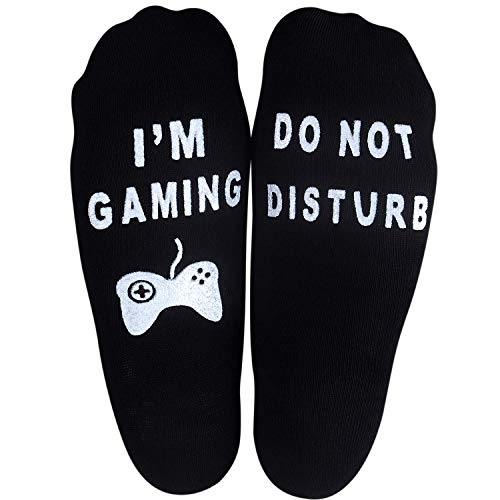 Do Not Disturb I'm Gaming - Soft Unisex Sock Novelty Funny Saying Crew Socks - The Perfect Funny Christmas Gifts for Men and Women