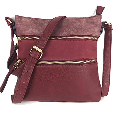 Designer Handbags for Ladies MEGAN Medium Size Smart & Compact Across Body shoulder Bag with Multi Pockets in High Quality Supple Grained PU Leather. Burgundy Multi