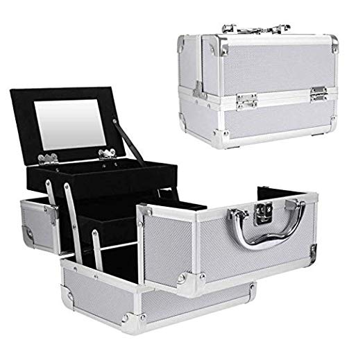 Portable Makeup Train Case,Aluminum Makeup Organizer Jewelry Cosmetic Box with 2 Trays, Mirror and Key Lock (Silver)