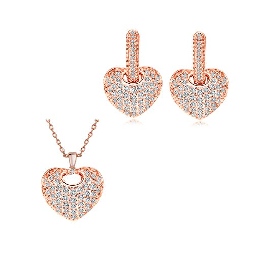 - CWWZircons Heart Shaped Rose Gold Plated Micro Pave CZ Hoop Earring Necklace Jewelry Set for Women