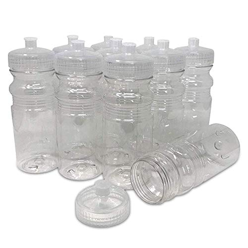 Plastic Water Bottles Wholesale (CSBD 20 Oz Sports Water Bottles, 10 Pack, Blank for Customized Branding, No BPA Food Grade Plastic for Fitness, Hiking, Cycling, or Gym Workouts, Made in USA (Clear, 10)