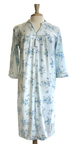 Miss Elaine Women's Terry Knit Floral Print Zip-Front Long Robe (X-Large, Blue/Lavender - Elaine Miss Zip Front