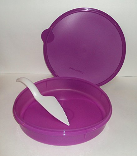 Tupperware Round Pie Taker Cupcake Keeper Storage Container Purple and Pastry Server