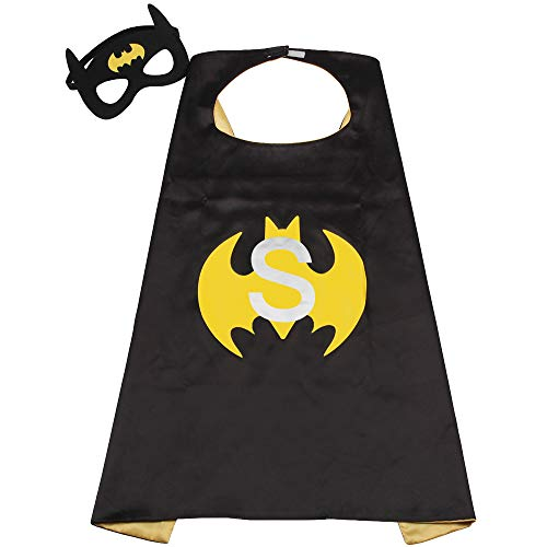 Todder Super Hero Cape for Boy Girl Child Superhero Batman Capes Kids Favor Yellow -