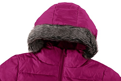 Wantdo Girl's Ultra Light Down Jacket Windproof Hoodies Outwear Short Parka for Camping(Rose Red, 4/5) by Wantdo (Image #4)