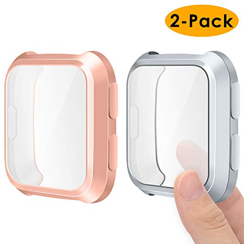 EZCO Compatible with Fitbit Versa Screen Protector Case (2