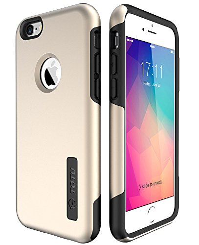 TOTU Iphone 6S Case , 6S Case, Premium Shock-Absorbing TPU Cases Durable Bumper Dual-Layer Cover, Soft Anti-Scratch Finish Work with Iphone 6 2014/6S 2015-Champagne Gold/Black