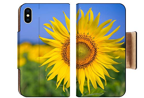 iPhone Xs Flip Pu Wallet Case Sunflowers Plantation Field Clear Blue Sky 28243889 ()