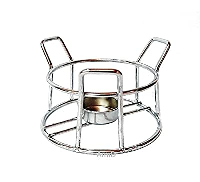 Fondue or Butter Warmer Stove heated with Chrome Plated Steel Stands