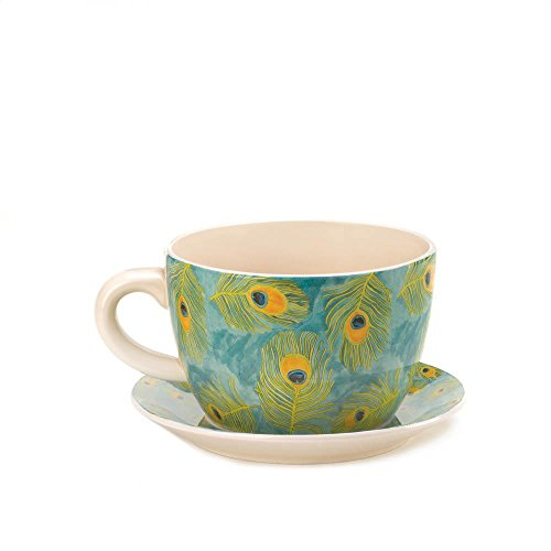 (Decor and More Store 10016839 Large Style Garden Pot Cup and Saucer with Drain Hole Peacock Feather Teacup)