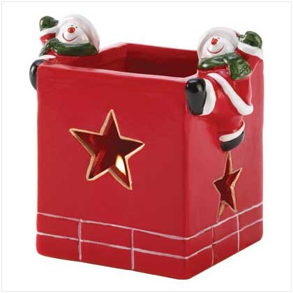 """""""ABC Products"""" - {Seasonal Close-Out} ~ Santa Chimney - Votive Candle Holder - With 2 Snowman Hanging on The Sides (Star-Shaped Cutouts - Lets the Light Shine Through The Chimney - Red Glazed Finish) -  B&B, 26133A"""