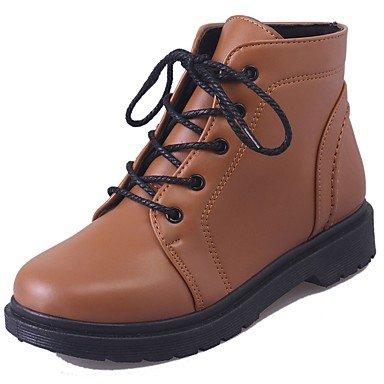 Para Marrón Lace EU36 Up CN36 Talón Mujer Mid Botas Confort Zapatos UK4 Casual Redonda Botas Botas RTRY Chunky Calf De US6 Otoño Negro Puntera Moda Pu g1UnOwq