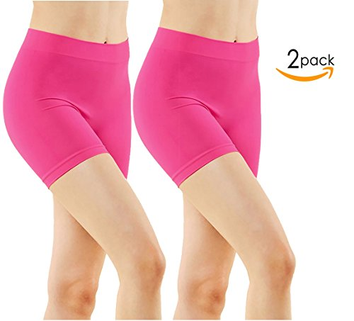 Magenta Short - 2 Pack Women's Seamless Stretch Yoga Exercise Shorts MAGENTA