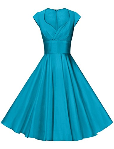 GownTown Womens Dresses Party Dresses 1950s Vintage Dresses Swing Stretchy Dresses,Seagreen,Small