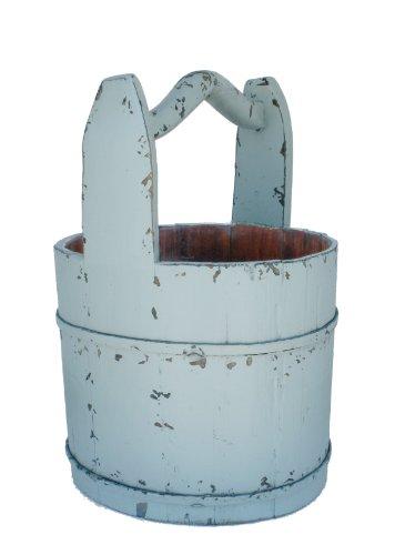 Antique Revival Crested-Handle Wooden Water Bucket, Aqua