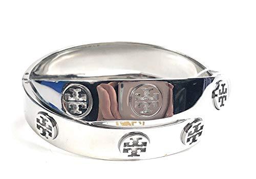Tory Burch Metal Logo Double Wrap Bracelet Silvertone