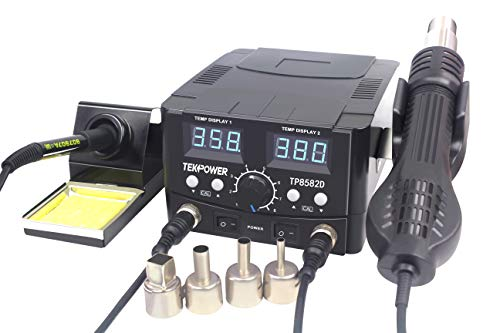 Tekpower TP8582D 2-in-1 70W Soldering Iron and 750W SMD Hot Air Rework Station, 896 °F Maximum