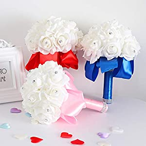 1Set Handmade Foam Artificial Rose Silk Bouquet for Bridesmaid Wedding Flower Decorations Beautiful Flower Accessories 41