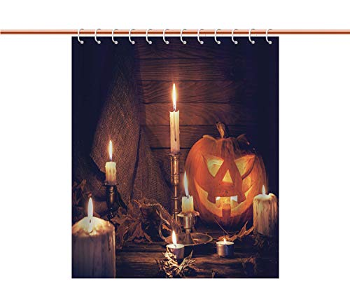 iPrint Funky Shower Curtain [ Halloween,Rustic Home Wooden Planks Burning Candles Pumpkin Sackcloth Harvesting Holiday Decorative,Orange Brown ] Heavy-Duty Fabric Shower Curtains ()