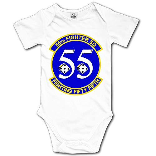 Fighter 55th - JSHG DSJF 55th Fighter Squadron Newborn Baby Outfit Creeper Short Sleeves Bodysuits White