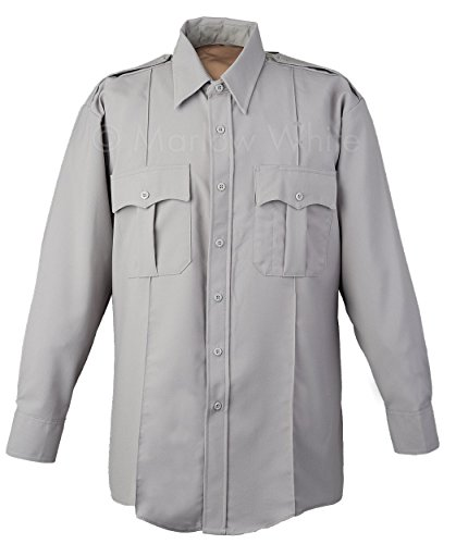 - Elbeco DutyMaxx Male Long Sleeve Shirt, Grey zipper front (16.5 x 34)