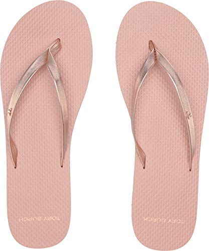 Tory Burch Women's Metallic Leather Flip-Flop Rose Gold/Rose 6 M ()