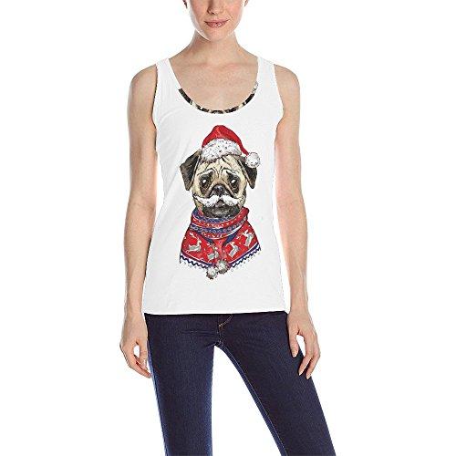 - InterestPrint Tank Top for Women, Cute Pug Dog Santa Hat Athletic Girl Workout Sleeveless Vest