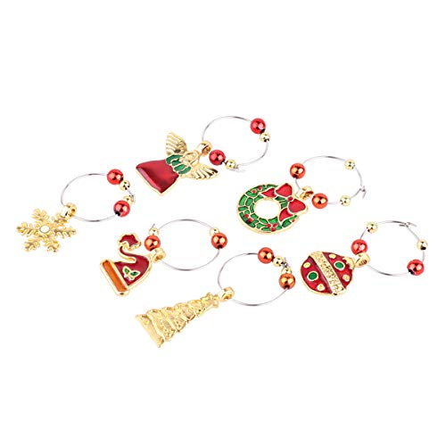 IEFIEL 6pcs Christmas Wine Glass Charms Drink Goblet Tags Distinguish Markers Rings Table Decorations Gold One Size