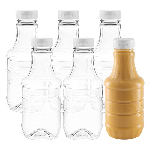 (Pack of 6 - Empty Round Salad Dressing Bottles with Lids - 20 Oz Clear Sauce Bottle Refill - Food Grade Plastic - With Flip-Top Caps For Easy Dispensing - Great For Homemade Sauces, Salad Dressings,)