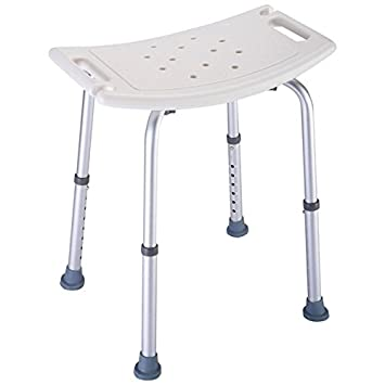 White Bath Shower Medical Chair Stools Heavy Duty Aluminum Frame 8 Level  Height Adjustable Bench Bathtub
